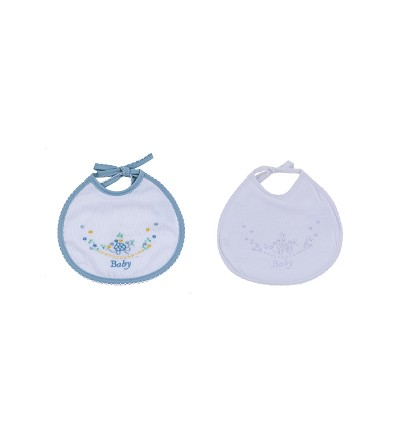 Embroidered Bib With Lace (2 Pieces) 18X18 cm.