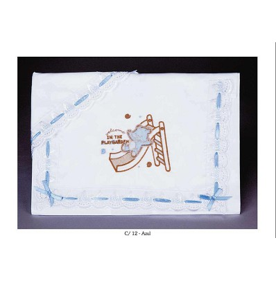 """Crib Sheets """"Slide With Teddy"""" Embroidered Strip 50/50% (3 Pieces) Large"""