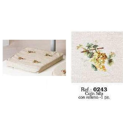 Cojín Silla Bordado Lino 34X42 cm. (Funda+Relleno)