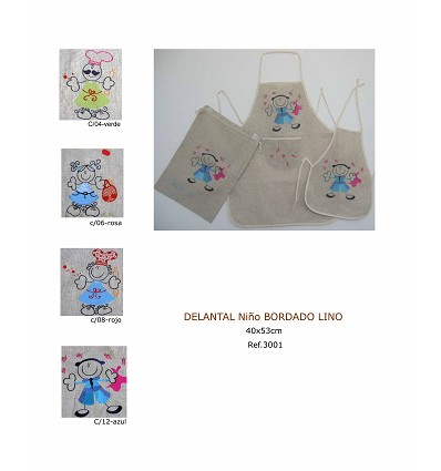 """Embroidered Linen """"Boy"""" Apron"""