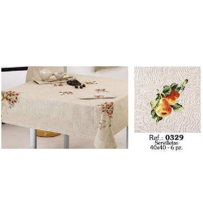 Embroidered Linen Table Napkin 40X40 cm. (6 Pieces)