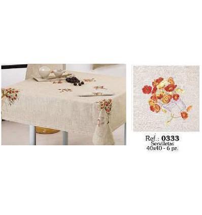 Serviette de Table En Lin Brodé 40X40 cm. (6 Pièces)