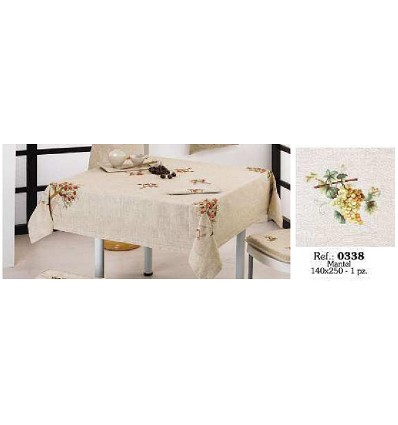 Embroidered Linen Tablecloth 140X250 cm.