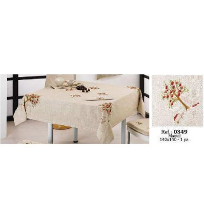 Embroidered Linen Tablecloth 140X140 cm.