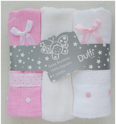 Embroidered Muslin 100% Cotton (3 Pieces) 70X70 cm.