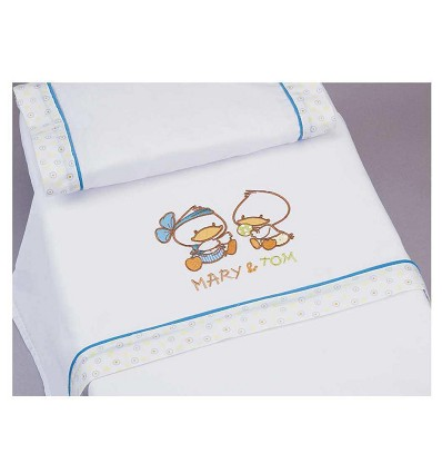 """Crib Sheets Embroidered """"Duckling"""" 100% Cotton (3 Pieces) Large"""