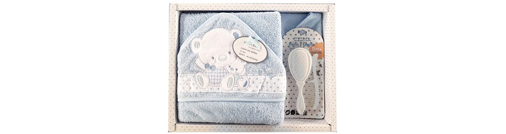 TERRY HOODED TOWEL + BRUSH + HAIR COMB